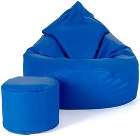 Aga Sedací vak XXXL + taburet  Modrý