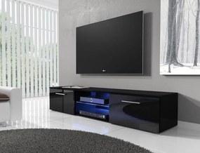 NIKI moderný stolík RTV3, biela/čierny lesk