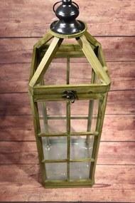 Drevený lampáš - zelený (81x24 cm) - vidiecky štýl