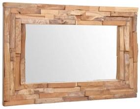 vidaXL Dekoratívne zrkadlo, teakové drevo 90x60 cm, obdĺžnikové