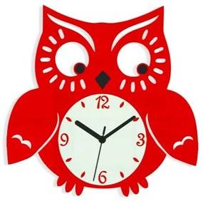 Mazur Nástenné hodiny Owl červené