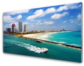Nástenný panel More pláž mesto krajina 140x70cm
