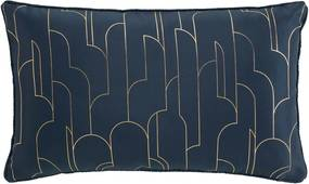 Krásny tmavo modrý vankúš so zlatým vzorok 30 x 50 cm