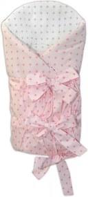 Baby Nellys Zavinovačka Safety 75x75 cm - Mini stars růžové, sivé, K19