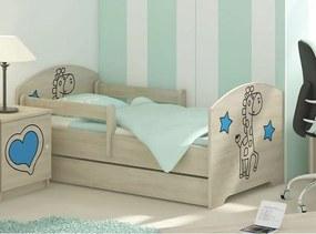 MAXMAX Detská posteľ s výrezom ŽIRAFA - modrá 140x70 cm + matrac ZADARMO! 140x70 pre dievča|pre chlapca|pre všetkých ÁNO|NIE modrá