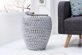 Bighome - Príručný stolík / taburetka REAL 50 cm - strieborná