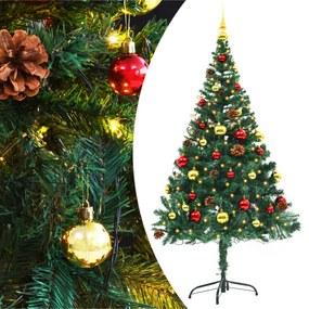 vidaXL Umelý vianočný stromček s ozdobami a LED diódami 150 cm zelený