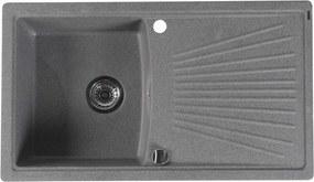 SAPHO - Dřez granitový vestavný s odkapávací plochou, 86,2x50 cm, šedá (GR1803