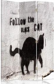 CARO Paraván - Folow The Black Cat | trojdielny | obojstranný 110x180 cm