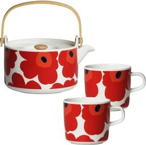 Čajová súprava Oiva Unikko, červená Marimekko