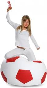 Ecopuf Sedací vak ECOPUF - FOOTBALL M - ekokoža E2 - Smotanovo biela