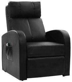 Elektrické masážne kreslo s diaľkovým ovládaním, čierna farba