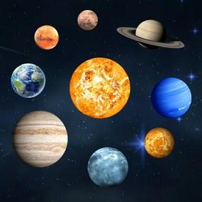 Sada 9 svietiacich samolepiek Ambiance Solar System