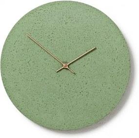 CLOCKIES CEMENT 30 nástenné hodiny Zelená Brezové drevo