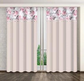 Romantický ružový záves s motívom kvetov