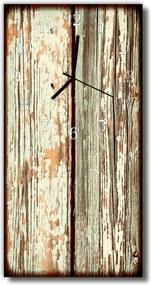 Sklenené hodiny vertikálne  Retro hnedé drevo