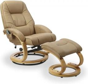 Polohovacie masážne kreslo s stoličkou MATADOR béžová Halmar