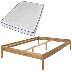 vidaXL Manželská posteľ s matracom pamäťovou penou, masívny dub, 140x200 cm (244205+241074)