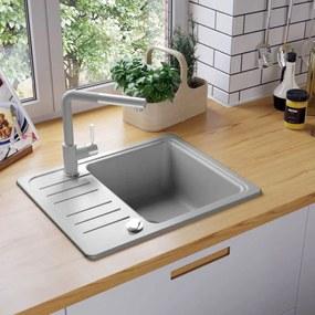 vidaXL Granitový kuchynský drez s jednou vaničkou, sivý