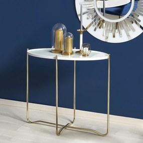 HALMAR KN-2 konzolový stolík biela / zlatá