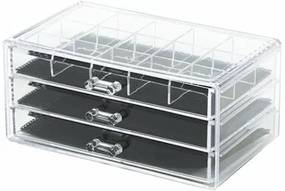 Compactor Veľký organizér na šperky Compactor - 3 zásuvky, číry plast - čierna látka, 24 x 15 x 11 cm
