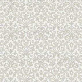 Vliesové tapety zámocký vzor krémový na bielom podklade 10 m2 PROFI ROLL - dve rolky v jednej