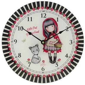 Santoro farebné nástenné hodiny Gorjuss Little Riding Hood