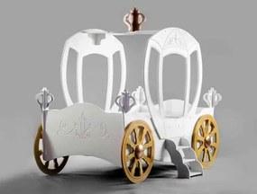 Plastiko detská postieľka princeznovský koč - biely