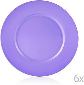 Sada 6 fialových porcelánových tanierov Efrasia