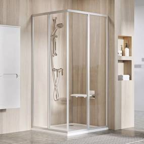 RAVAK SUPERNOVA SRV2-S 90 rohový sprchovací kút/dvere, white + transparent 14V70102Z1