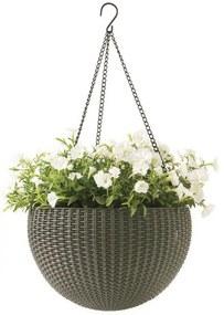 KETER HANGING SPHERE Planter kvetináč závesný 35 x 35cm, ratan, mocha 17199246