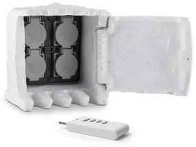 Power Rock Remote, záhradná zásuvka, 4-itý rozdeľovač, 3 m, diaľkové ovládanie, skala, svetlosivá