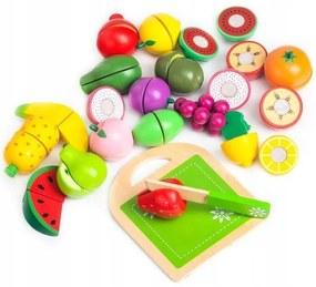 Súprava kuchára ovocia a zeleniny na krájanie Ecotoys + box 20ks drevená sada