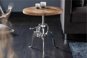 IIG -  Výškovo nastaviteľný konferenčný stolík ENGINEER 50 cm mango, prírodný, strieborný