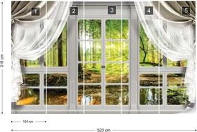 Fototapeta GLIX - 3D Door View Forest 2 + lepidlo ZADARMO Vliesová tapeta  - 520x318 cm