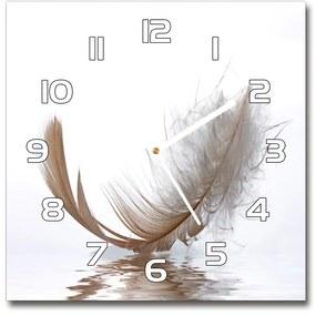 Sklenené hodiny štvorec Pírko na vode pl_zsk_30x30_f_77181591