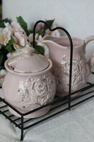 Ružová vintage cukornička a mliečnik 11cm