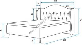 Manželská čalúnená posteľ INARI 140x200cm GRAFITOVÁ