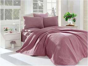 Fialový posteľný set z bavlny na dvojlôžko, 220 × 240 cm