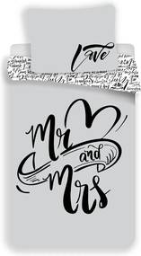 Jerry Fabrics Bavlnené obliečky Mr and Mrs, 140 x 200 cm, 70 x 90 cm