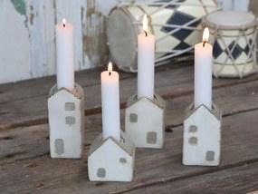 Chic Antique Adventné svietniky Candlestick Houses set 4 ks