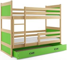 Poschodová posteľ RICO 2 - 160x80cm - Borovica - Zelený