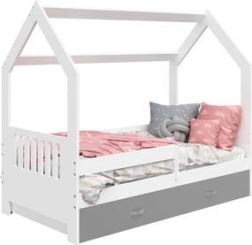 AMI nábytok Dětská postel DOMEČEK D3E 80x160cm masiv bílá