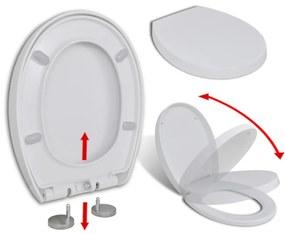 WC sedadlo, pomalé sklápanie, rýchloupínacie, biele, oválne