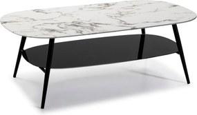 Bielo-čierny konferenčný stolík so sklenenou doskou v mramorovom dekore Marckeric Alina