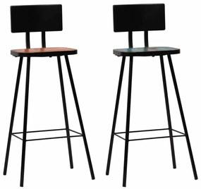 vidaXL Barové stoličky, 2 ks, masívne recyklované drevo, rôznofarebné