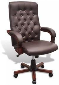 Hnedé kancelárske kreslo z umelej kože Chesterfield