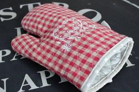 Červená kuchynská rukavica chňapka na varenie