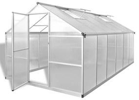 vidaXL Spevnený hliníkový skleník so základným rámom 9,025 m²