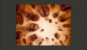 Bimago Fototapeta - Flying coffee beans 350x270 cm